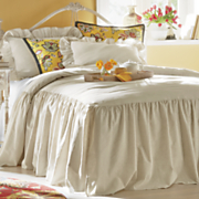 Ruffled Linen Bedspread and Shams