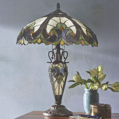 stained glass table lamp with night light base from midnight velvet. Black Bedroom Furniture Sets. Home Design Ideas