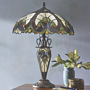 Stained Glass Table Lamp with Night-Light Base