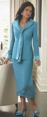 Xenia Scarf-Trim Suit
