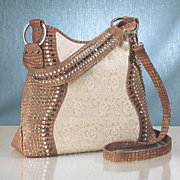 lace inset studded hobo bag