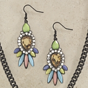 Crystal with Opaque Stone Earrings