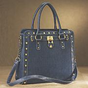 denim chain padlock bag