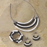 black white necklace bracelet earring set