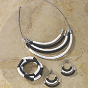 black white necklace bracelet earring set