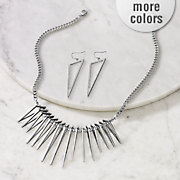 3 d triangles necklace earring set