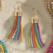 multicolor strand tassel wire earrings