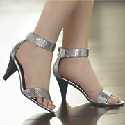 snake print ankle strap sandal by midnight velvet