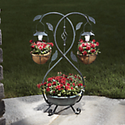two tiered solar light planter
