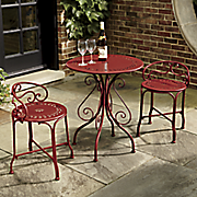 Red Metal Bistro Table & Chairs