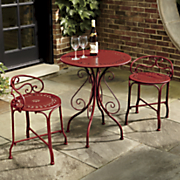 red metal bistro table chairs