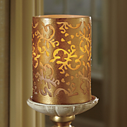 Golden Scroll LED Candle with Candleholder