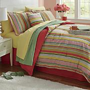 Bright Stripe Comforter Set, Decorative Pillow and Window Treatments