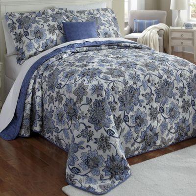 Indigo Bedspread Set, Decorative Pillow and Window Treatments
