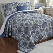 Indigo Bedspread Set, Decorative Pillow and Window Treatments