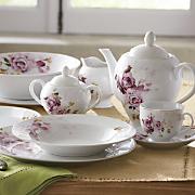 47 pc rose bouquet dinnerware set