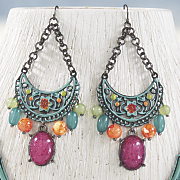 floral scroll wire earrings