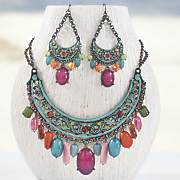 floral scroll necklace and earrings