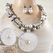faux pearl medallion necklace and earring set