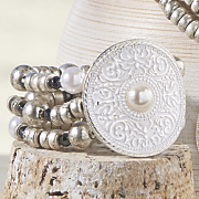 faux pearl medallion stretch bracelet
