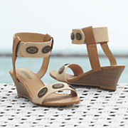 Eye Medallion Ankle Strap Wedge by Monroe and Main