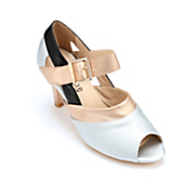 Metallic Peep-Toe Sandal by Monroe and Main
