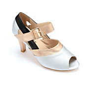 Metallic Peep-Toe Sandal by Monroe and Main