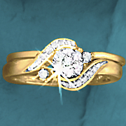 postpaid round cluster swirl bridal set