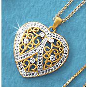 diamond heart cluster pendant
