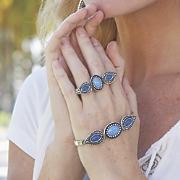 blue stone hand stretch jewelry