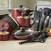 17 piece high performance nonstick cookware set by farberware