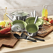 10-Piece Stainless Steel Cookware Set with Colored Nonstick Interior by Seventh Avenue