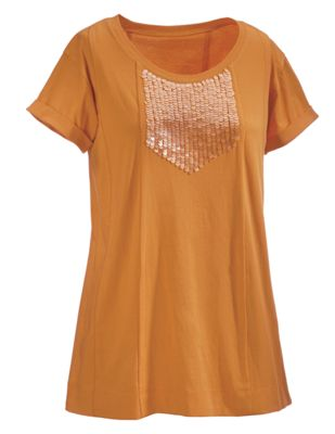 Sun Sparkle Sequined Panel Top