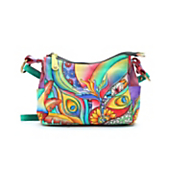 flower power hand painted leather bag
