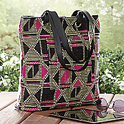 big bright geometric tote