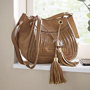 whipstitch tassel side bag