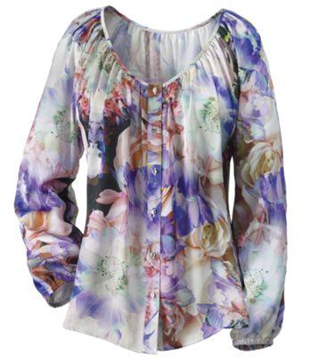 Floral Watercolor Button Front Blouse