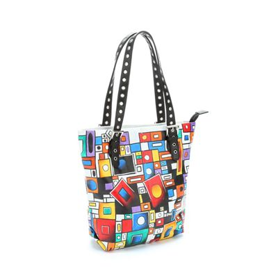 Mod Marvel Hand-Painted Leather Tote