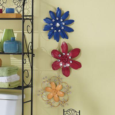 3-Piece Multicolor Wall Flower Set
