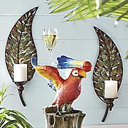 set of 2 palm leaf wall candleholders
