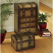 set of 2 metal trunks