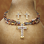 beaded cross necklace and earrings set