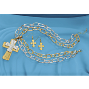 two tone cross necklace and earrings set