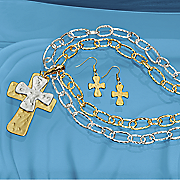 Two-Tone Cross Necklace and Earrings Set