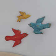 set of 3 birds wall decor
