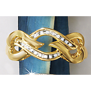 Postpaid Diamond Heart-Wave Ring