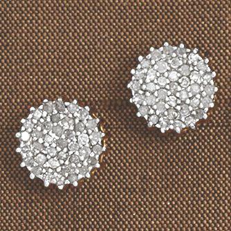 Diamond Round Cluster Post Earrings