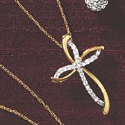 postpaid 10k gold diamond cross pendant