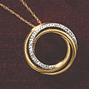 postpaid 10k gold diamond double circle pendant