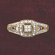 Postpaid Diamond Square Frame Ring